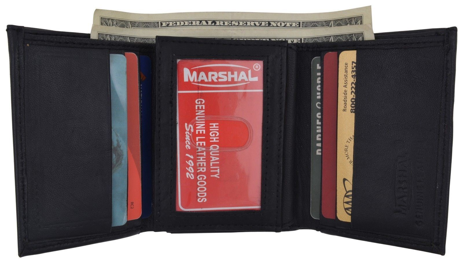 Men/'s Lamb Leather Trifold Credit Card Double ID Money Holder Wallet Black Brown