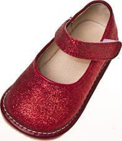 Girl's Toddler Red Leather Sparkle Mary