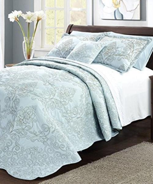 Details about Light Blue Taupe Embroidered 4 pc Quilt Set Coverlet  Bedspread Queen King Bed