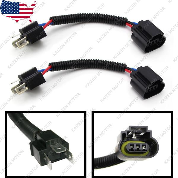 Details about 2x H4 9003 to H13 9008 Headlight Conversion Cable Wiring on