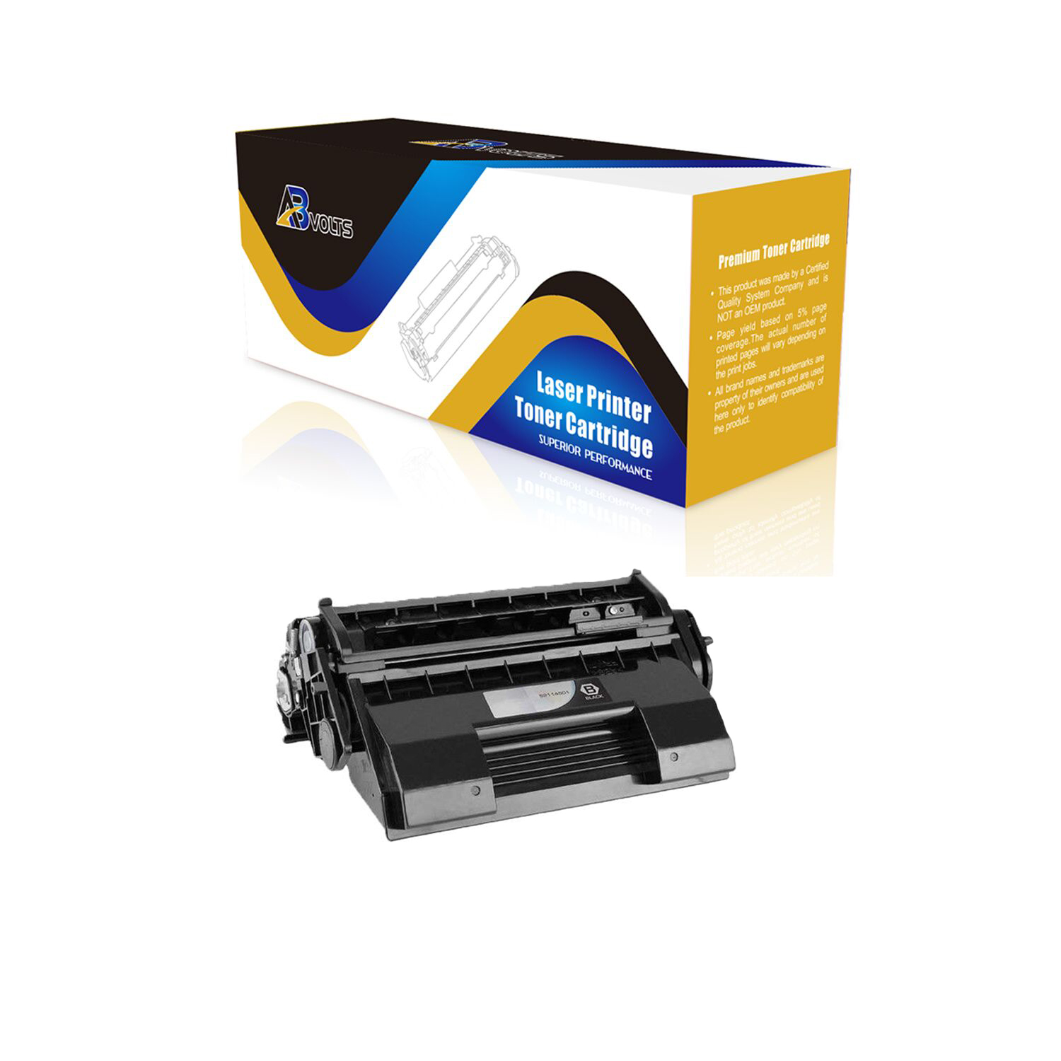 Black,5-Pack AB Volts Compatible Toner Cartridge Replacement for Okidata 52114501 for 6200 6300