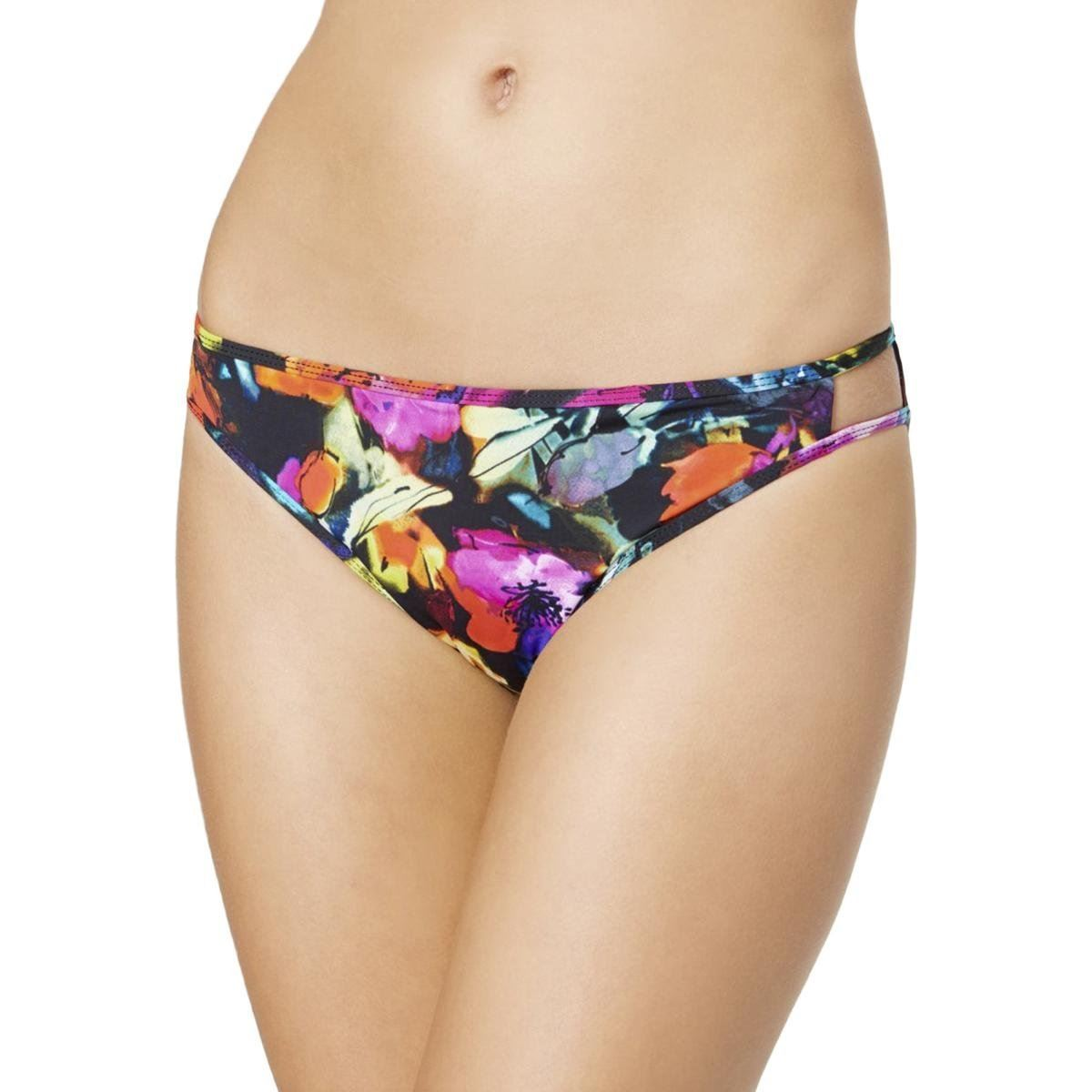 Bar III Painted Posies Floral Bikini Bottom Medium
