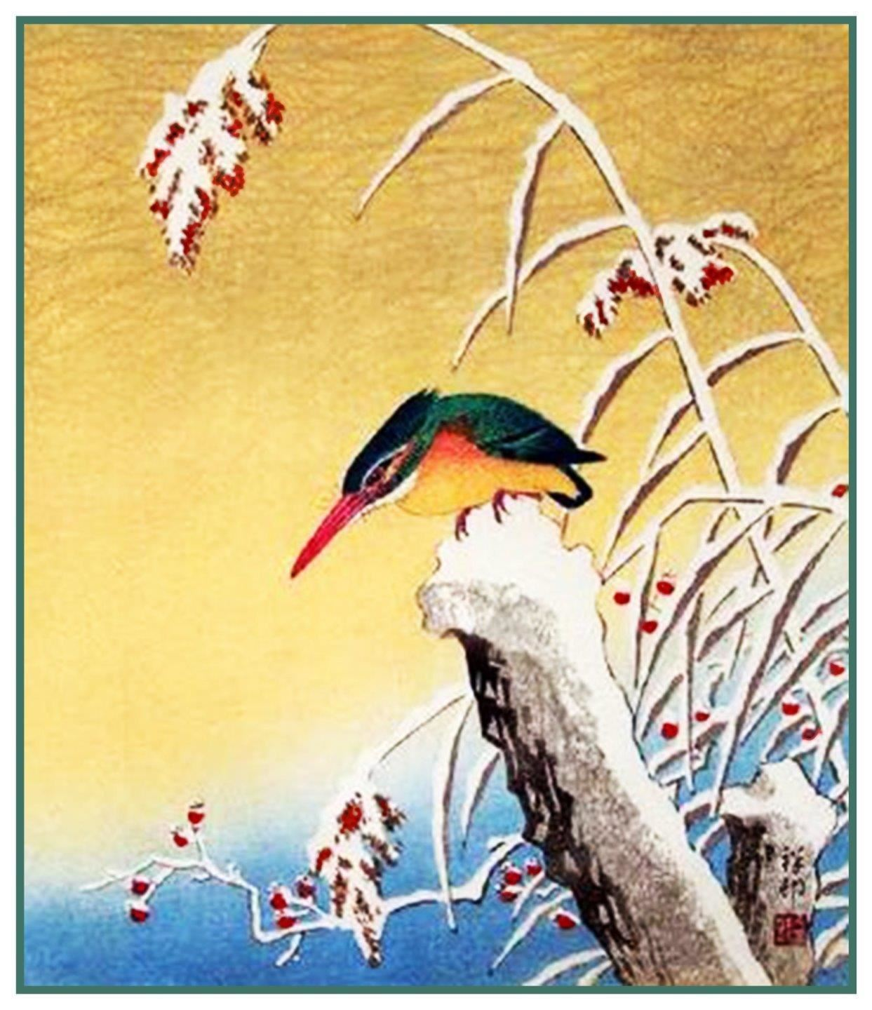 Japanese Ohara Shoson Koson Wisteria Swallows Bird Counted Cross Stitch Pattern