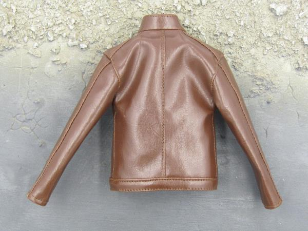 Brown Leather Like Jacket 1//6 Scale Toy Undercover Agent
