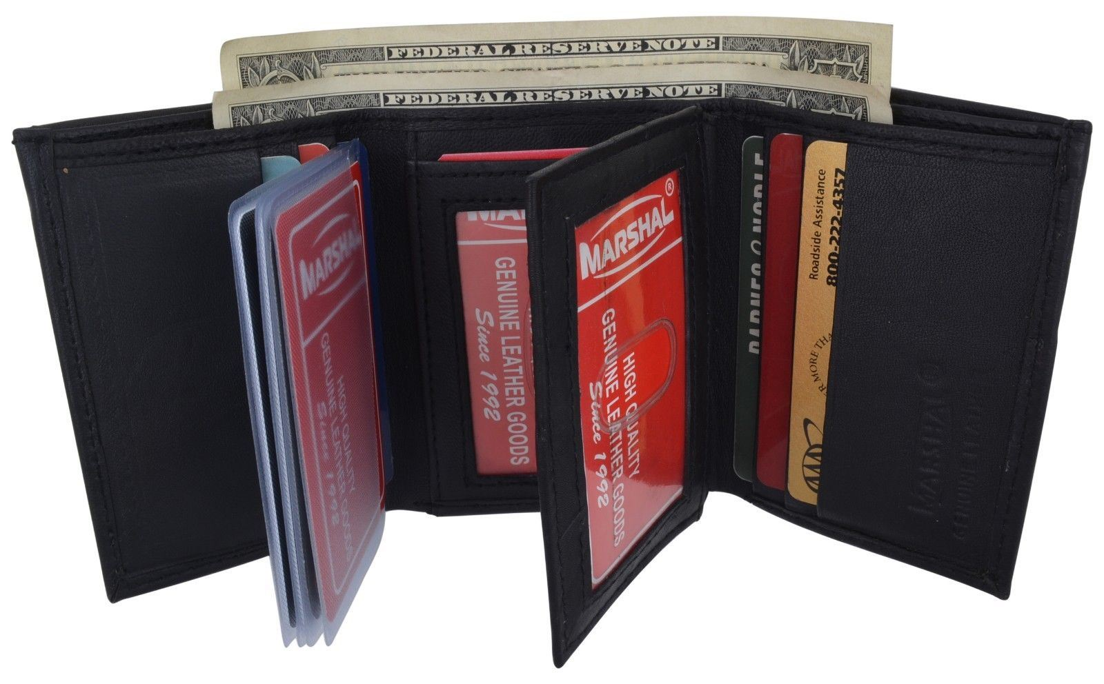 New RFID Mens Trifold Leather Wallet Multi Pockets Tan Classic Style Credit Card