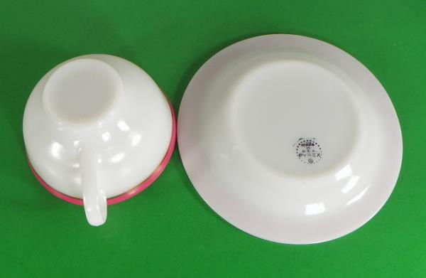 LOT OF 4 Goldtone Rims Flamingo Pink Pyrex CORAL Band Glass Salad Plate s
