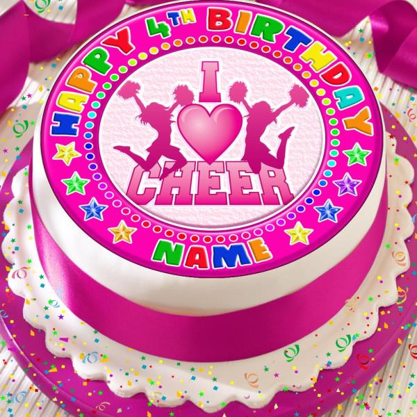 Pleasant I Love Cheerleader Birthday Personalised 7 5 Inch Precut Edible Funny Birthday Cards Online Alyptdamsfinfo
