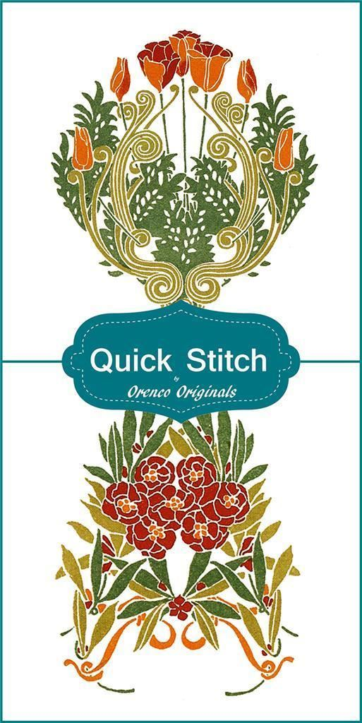 2 Different Quick Stitch Art Nouveau Designs  #1 Counted Cross Stitch Patterns