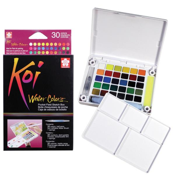 SAKURA OF AMERICA XNCW30N KOI 30 COLOR TRANSPARENT WATERCOLOR PAN POCKETBOX SET