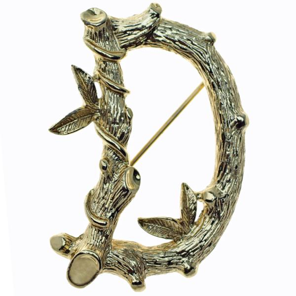 Vintage S Initial Brooch by Sarah Coventry in Gold Tone Metal with Leaves