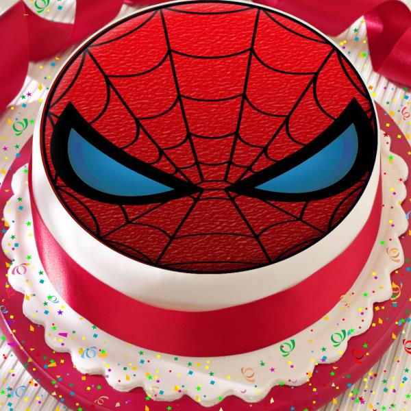 Astounding Spiderman Mask Red Black 7 5 Inch Precut Edible Birthday Cake Funny Birthday Cards Online Inifodamsfinfo