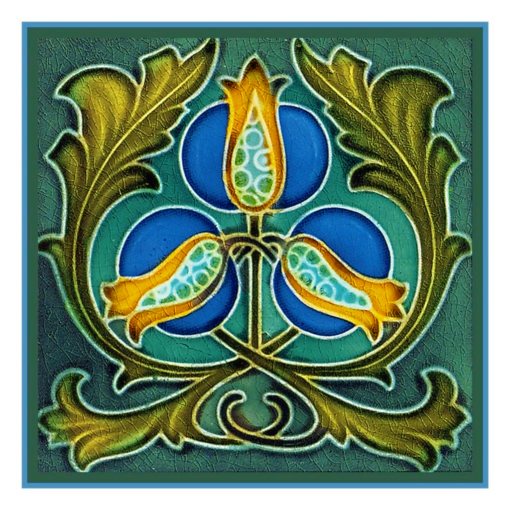 Art Nouveau Flowering Tree Blues and Greens Counted Cross Stitch Chart Pattern