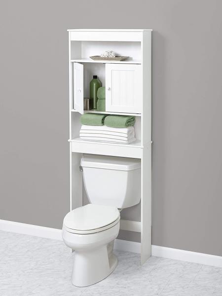 White Wooden Bathroom Storage Cabinet Space Saver Over The Toilet Shelf Doors Ebay