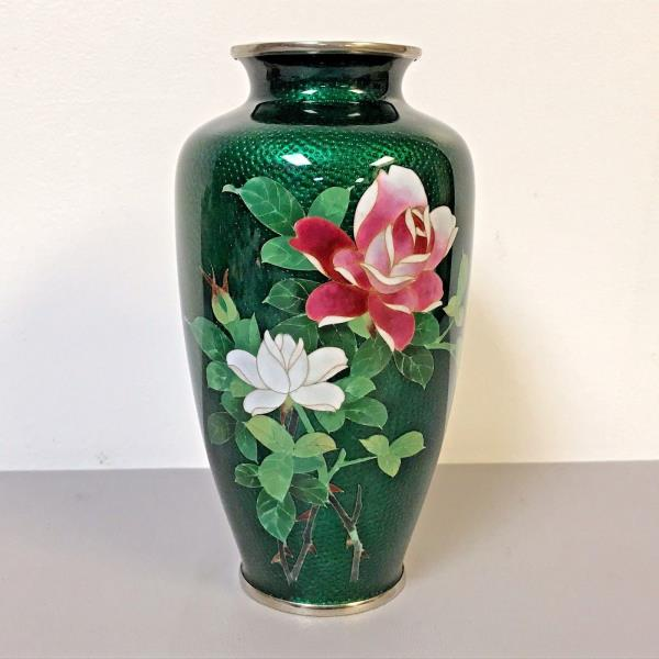 Details about Vintage Japanese Ginbari Silver Wire Green Cloisonne Vases W/  Rose Decoration