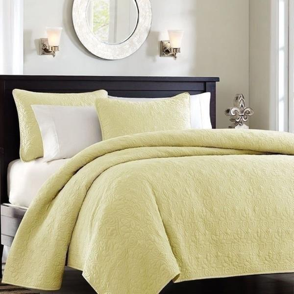 Twin XL Full Queen Cal King Bed Solid Yellow 3 pc Bedspread Quilt Set Coverlet