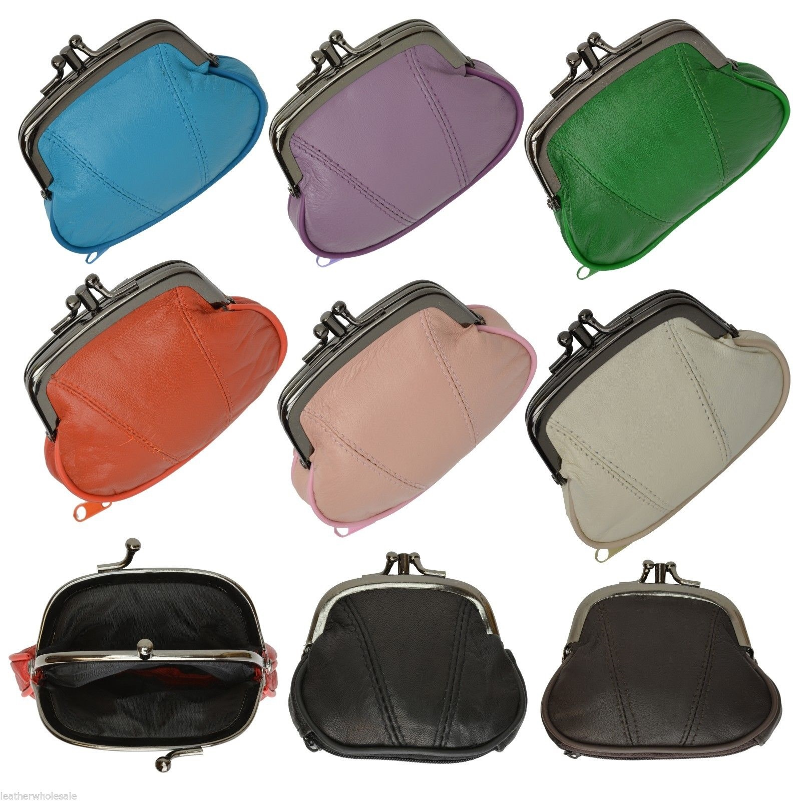 """Genuine Leather Womens Metal Frame Coin Change Purse  5/"""" x 3 3//16/"""" New Black"""