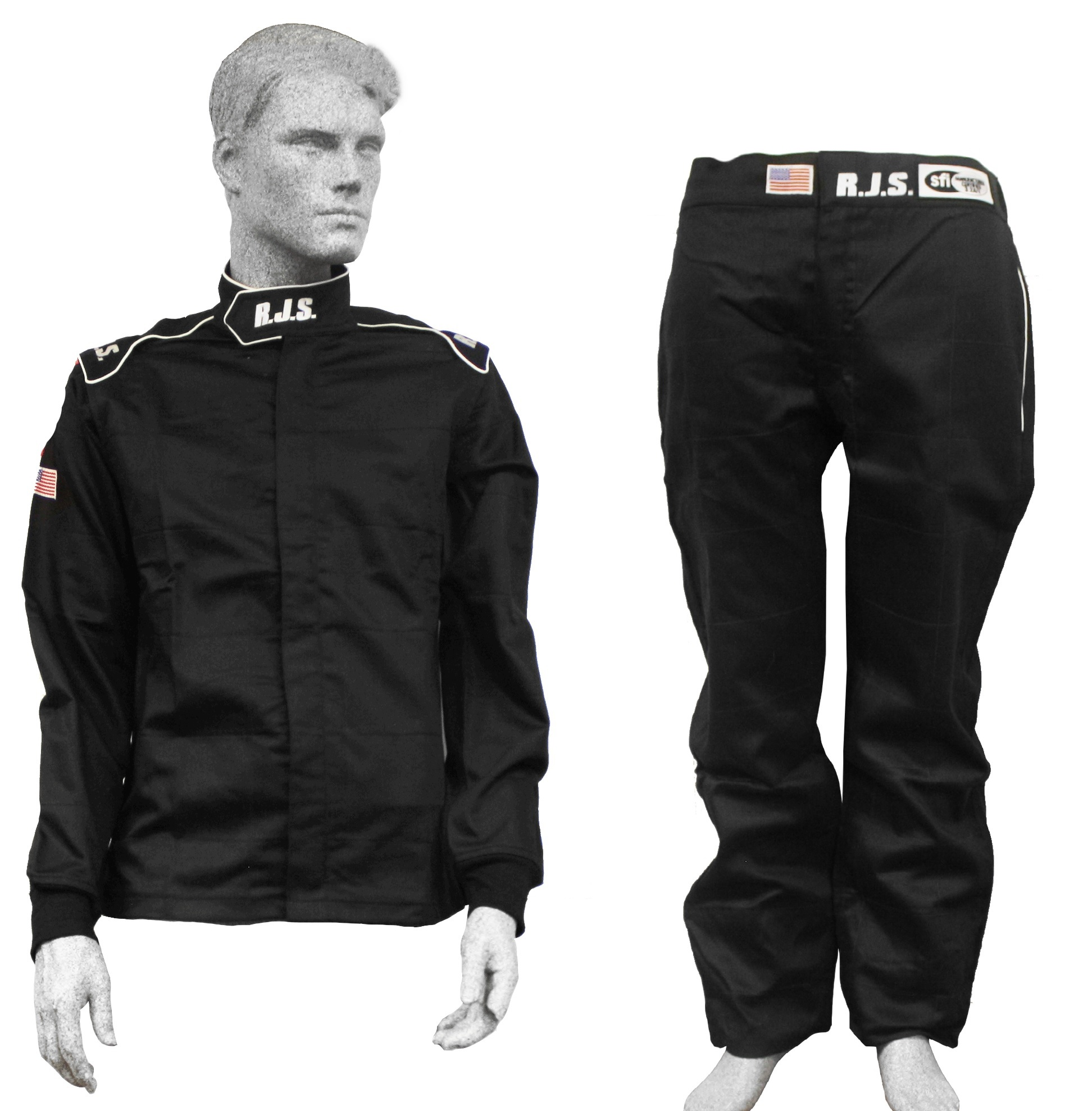 WHITE STRIPE ADULT 3X SFI 3.2A//1 RJS RACING 3XL FIRE SUIT RACING PANTS BLACK