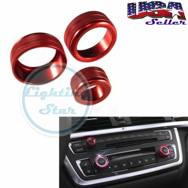 Abfer Car Air Conditioning Button Aluminum Car Condition Control Switch Knob Radio Volume Knob Ring Covers Decorative Knobs for BMW 1 2 3 3GT 4 Series Red