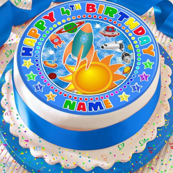 Sensational Space Rocket Birthday Personalised 7 5 Inch Precut Edible Cake Funny Birthday Cards Online Alyptdamsfinfo