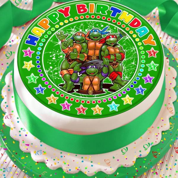 Enjoyable Teenage Mutant Ninja Turtles Precut Edible 7 5 Inch Happy Birthday Funny Birthday Cards Online Fluifree Goldxyz