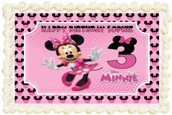 Remarkable Minnie Mouse Rectangle Square Personalised Icing Edible Costco Funny Birthday Cards Online Elaedamsfinfo