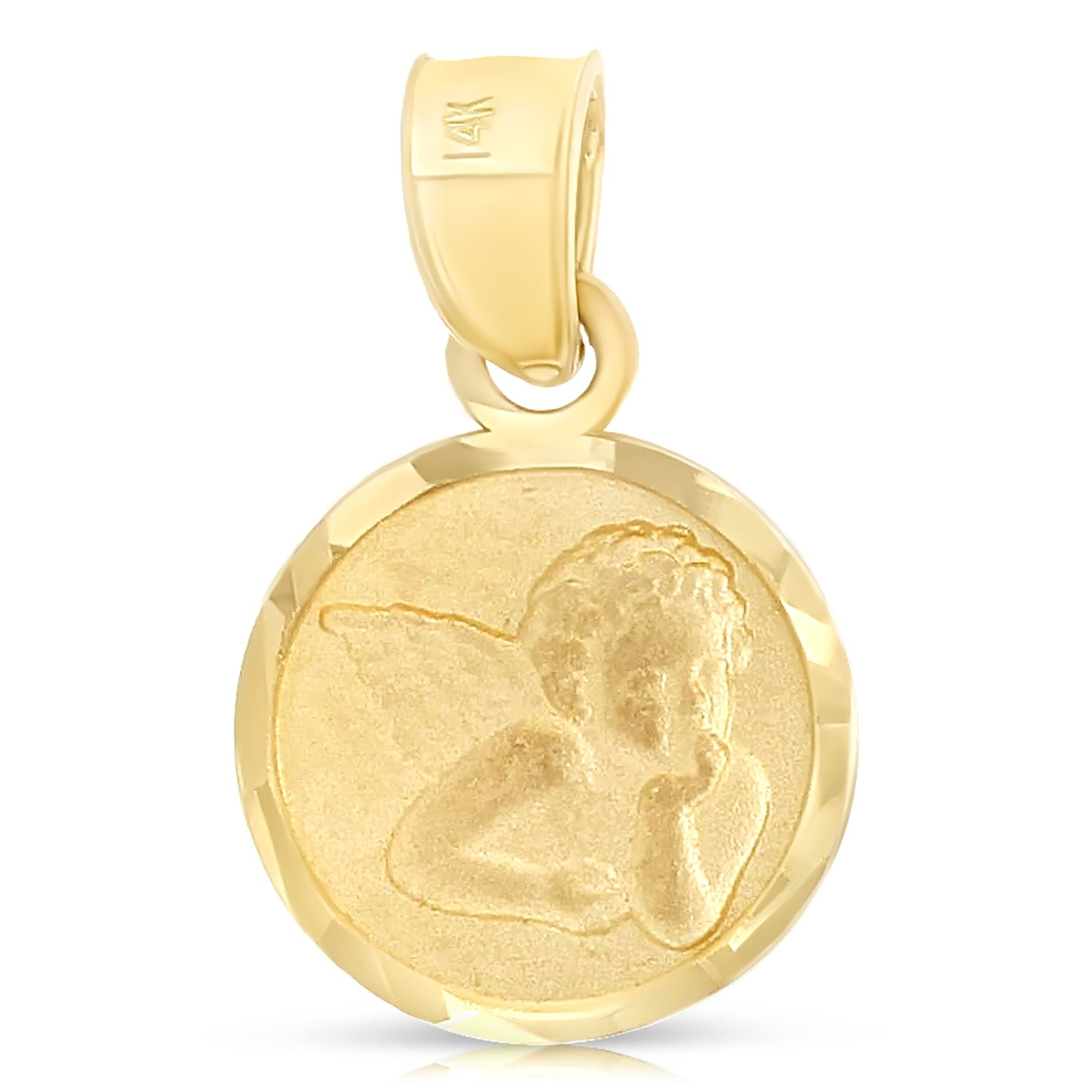 14K Yellow Gold Angel Charm Pendant with 1.6mm Figaro 3+1 Chain Necklace