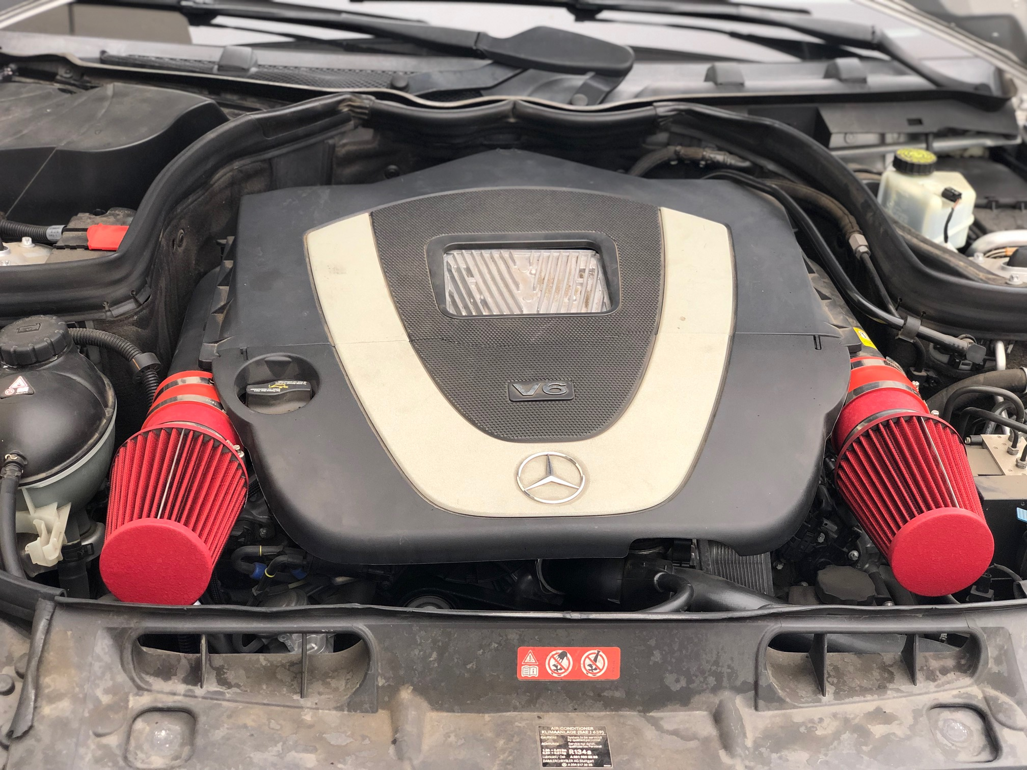 ALL RED COATED Air intake kit for 2008-12 Mercedes Benz C300 C350 3.0L 3.5L V6