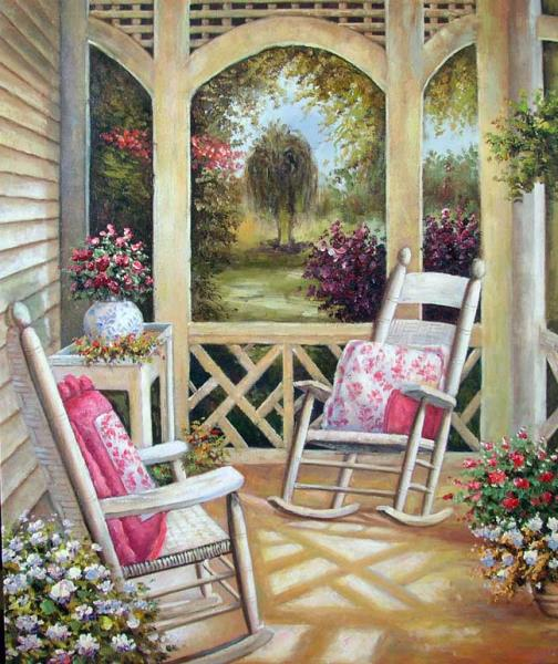Astonishing Details About Home Porch Veranda Rocking Chair Flowers Southern America Stretched Oil Painting Gmtry Best Dining Table And Chair Ideas Images Gmtryco