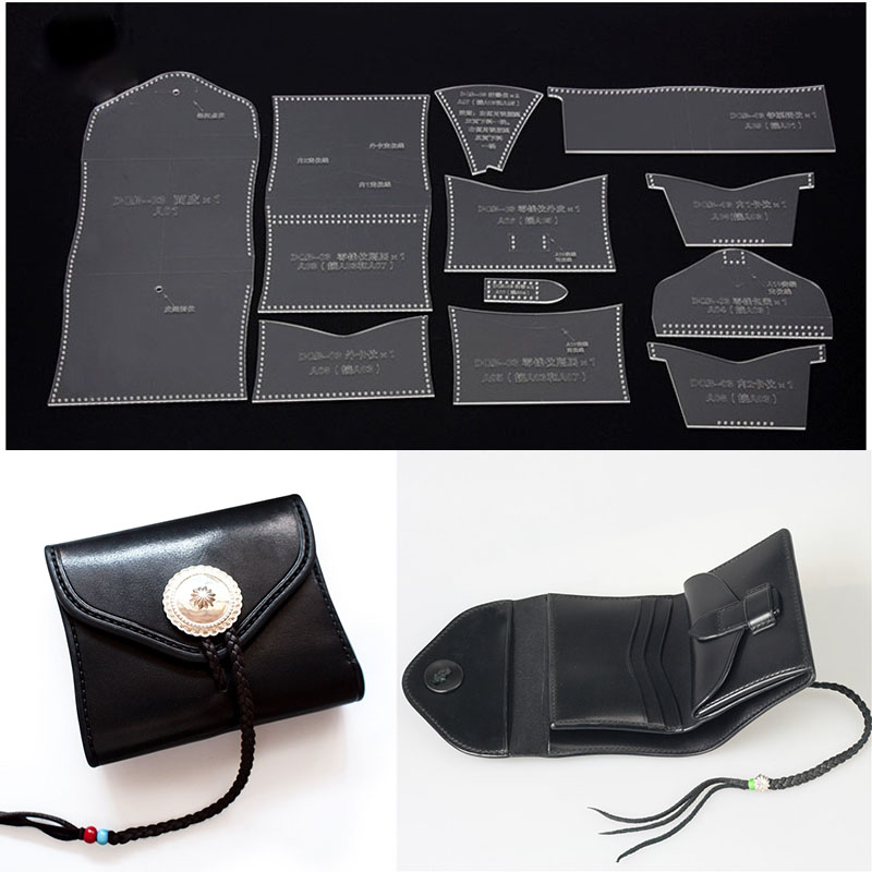 Short Wallet Card Bag Holder Leather Craft Acrylic Template Pattern Stencil