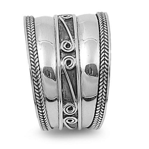 """Beautiful Bali Cigar Band Ring Sterling Silver HALF SIZES  7//8/"""" Wide 6,7,8,9,10"""