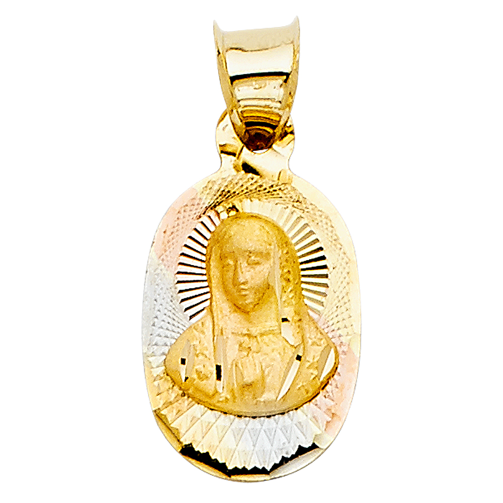14k Yellow Gold DC Guadlupe Stamp Religious Pendant Charm