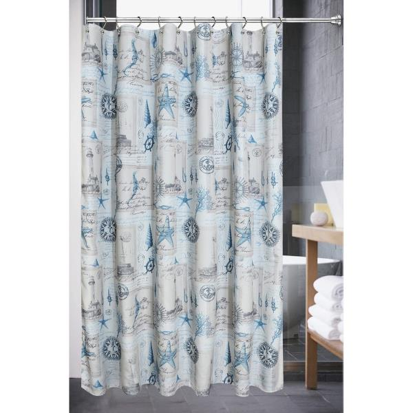 FMSHPON Blue Sea and Seashell Waterproof Polyester Fabric Shower Curtain 60x72