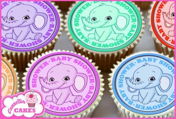 30 x Mixed Baby Shower Elephant Design Edible rice paper //Icing Cup Cake Topper