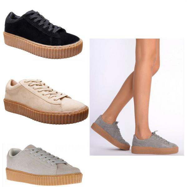 Ladies Womens Faux Leather Chunky Platform Creepers Trainers Plimsolls Shoes