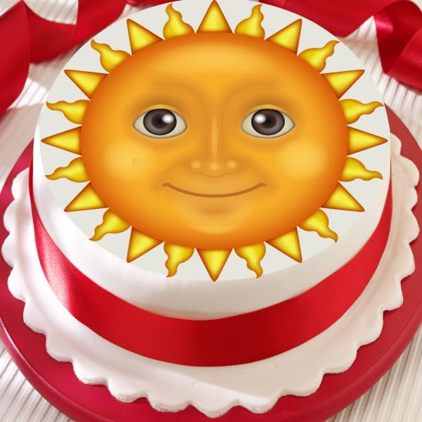 Awe Inspiring Emoji Sun Face Precut Edible Birthday Cake Topper Decoration Ebay Funny Birthday Cards Online Sheoxdamsfinfo