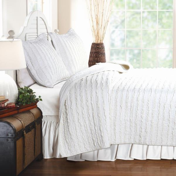 Solid White Ruffle Stripe 3pc Cotton Quilt Set Twin Full Queen King Bed Coverlet