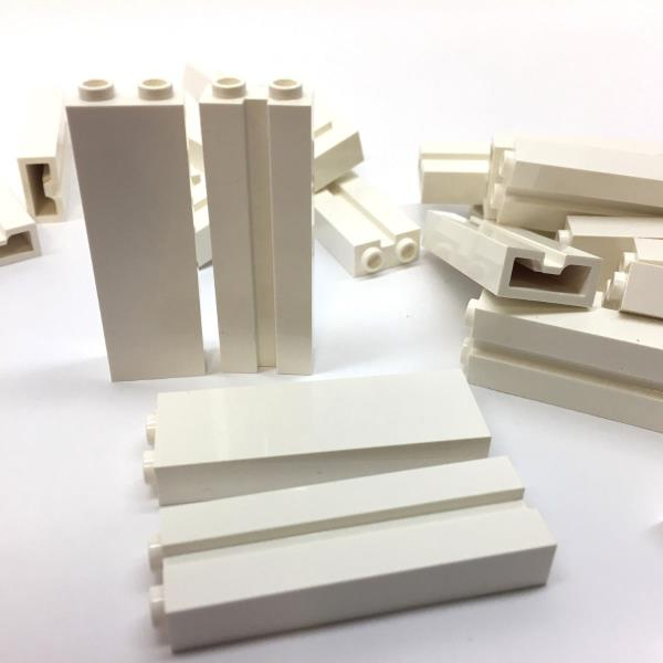 LEGO WHITE Brick Parts 50 NEW Modified 1x2x5 with Groove #88393 Lot of 50 pcs