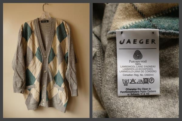 Vintage Jaeger Wool Cardigan Sweater 45 Chest 40 102cm Argyle Gray Lambswool Ebay