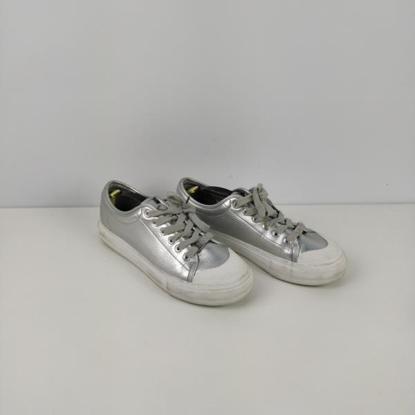 WOMENS FAITH SILVER LEATHER LACE UP