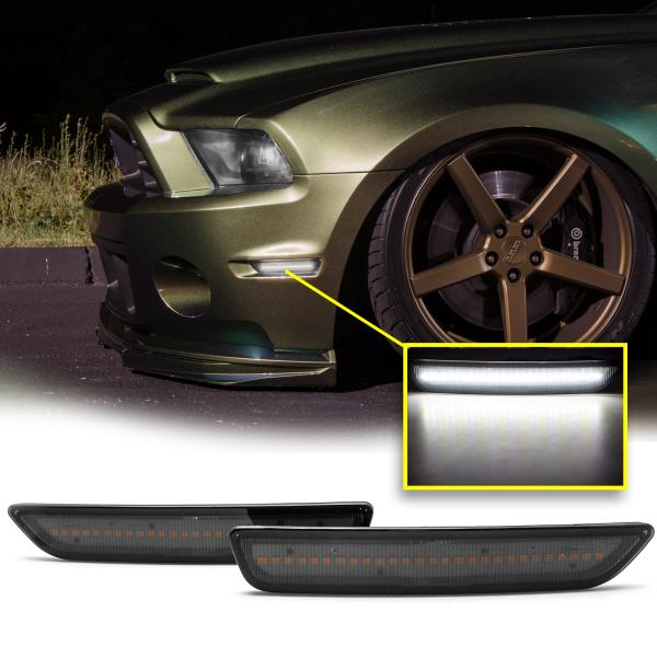 2010 2011 2012 2013 2014 Ford Mustang Smoked LED Side Marker Front /& Rear Set