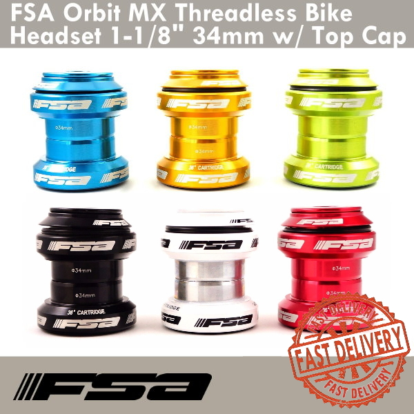 "FSA Orbit MX Threadless Bicycle Headset 1-1//8/"" 34mm W//Top Cap Red Black White"