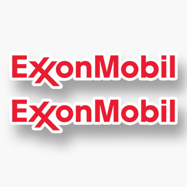 2x EXXON MOBIL Logo Vinyl Sponsor Decal Sticker Gas Petroleum F1 Racing Team