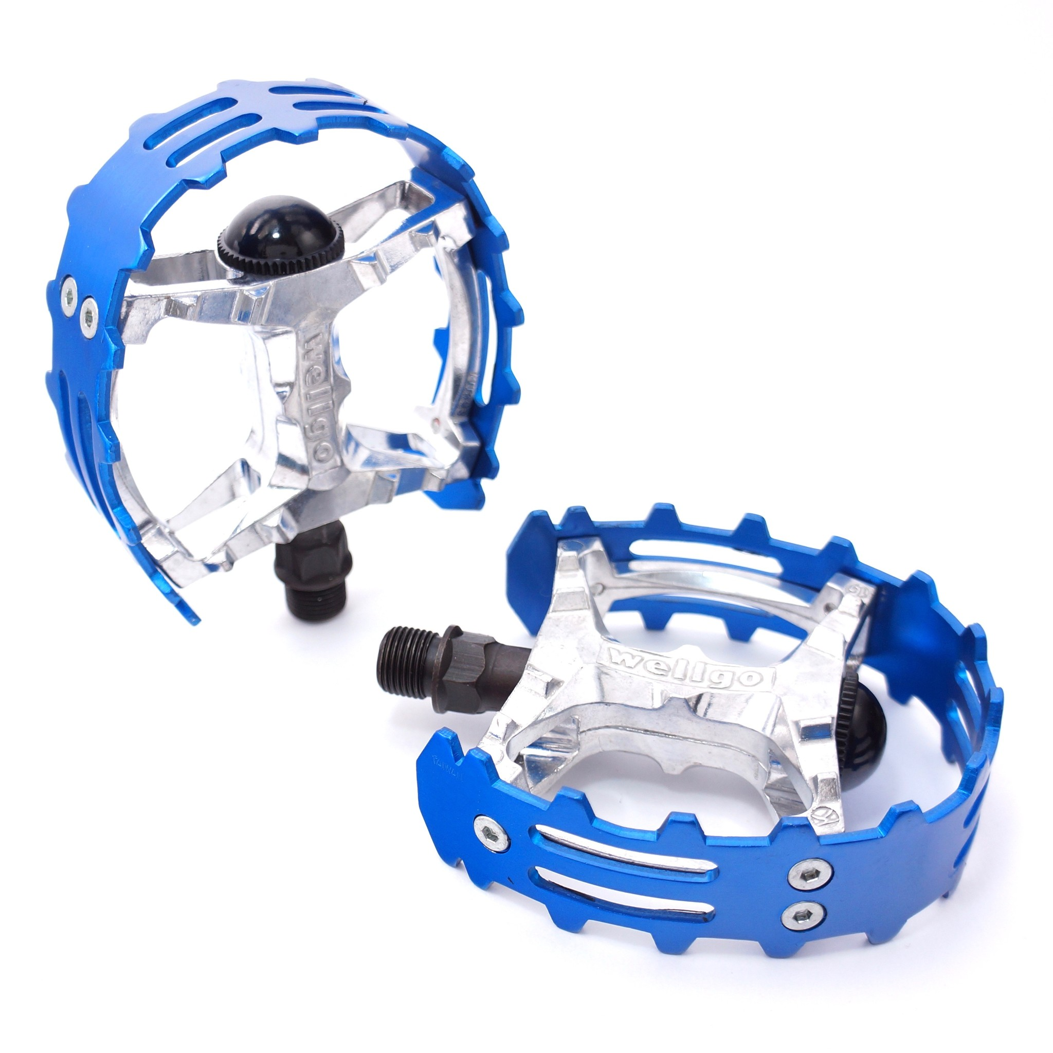 """Old School Vintage Style BMX Wellgo Bear Trap Pedals Pairs 1//2/""""/' Blue /& Silver"""