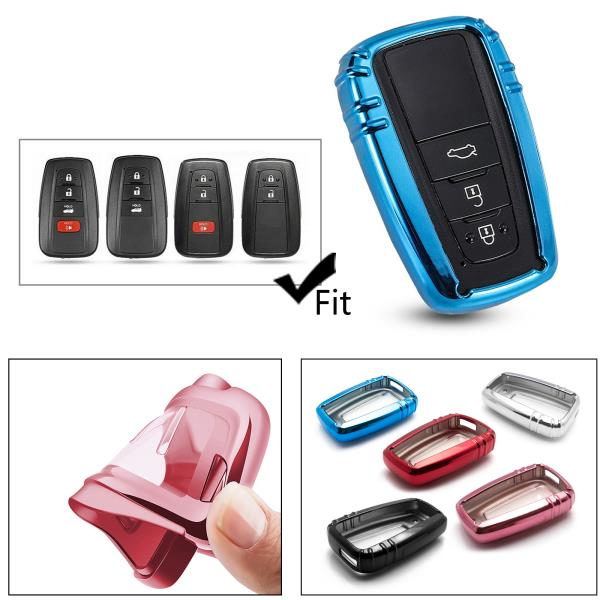 TL for Toyota Key Fob Cover TPU Key Fob Case Sleeve Protector Shell Keyless Remote Control Smart Key Holder with Key Chain for 2018 2019 Toyota Camry RAV4 Avalon C-HR Prius Corolla Violet Black