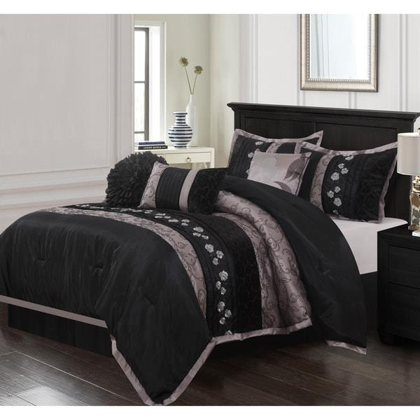 Queen King Bed Red Gray Grey Damask Hotel Stripe 8pc Comforter Set Solid Bedding