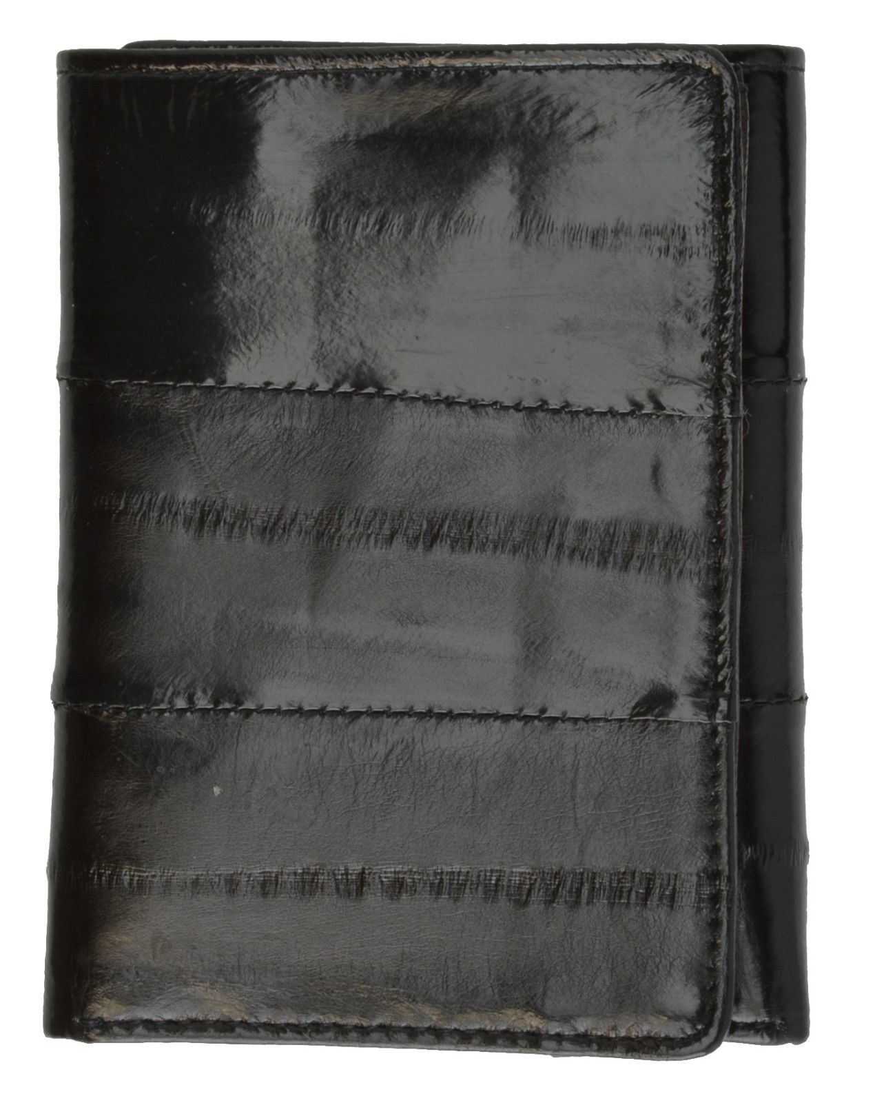 New Genuine EEL SKIN Men/'s Light weight WALLET with ID window sm//Small Trifold