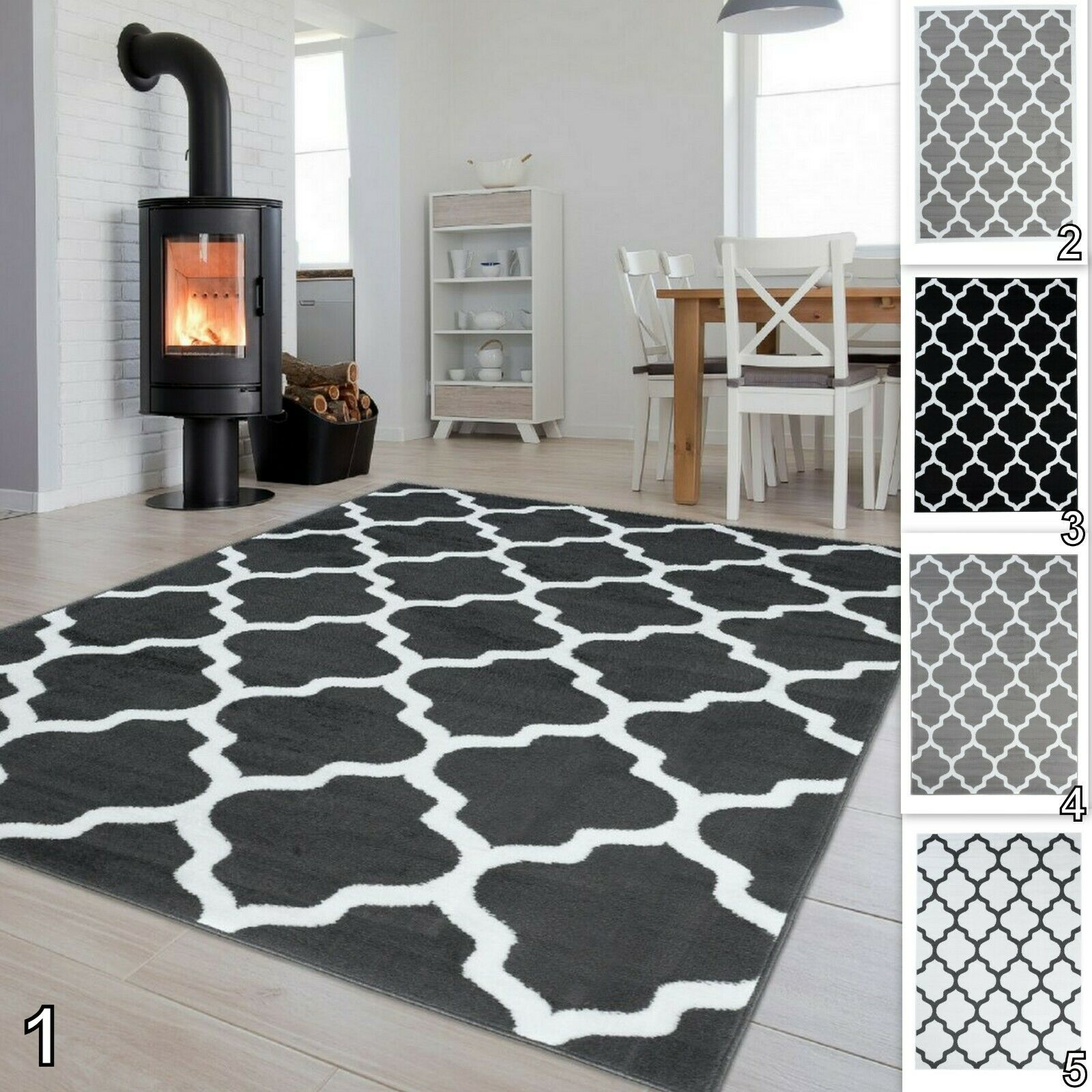 New Modern Geometric Trellis Grey Black White Rug Contemporary Carpet Soft Pile