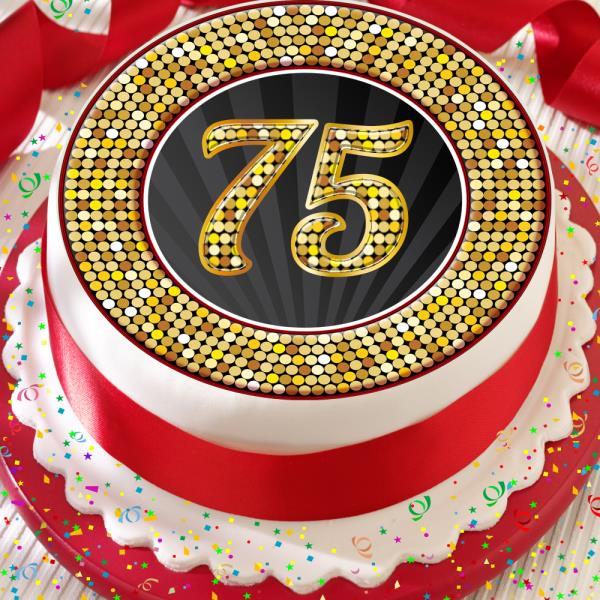 Marvelous 75Th Birthday Anniversary Black Gold Border 7 5 Inch Precut Edible Funny Birthday Cards Online Bapapcheapnameinfo