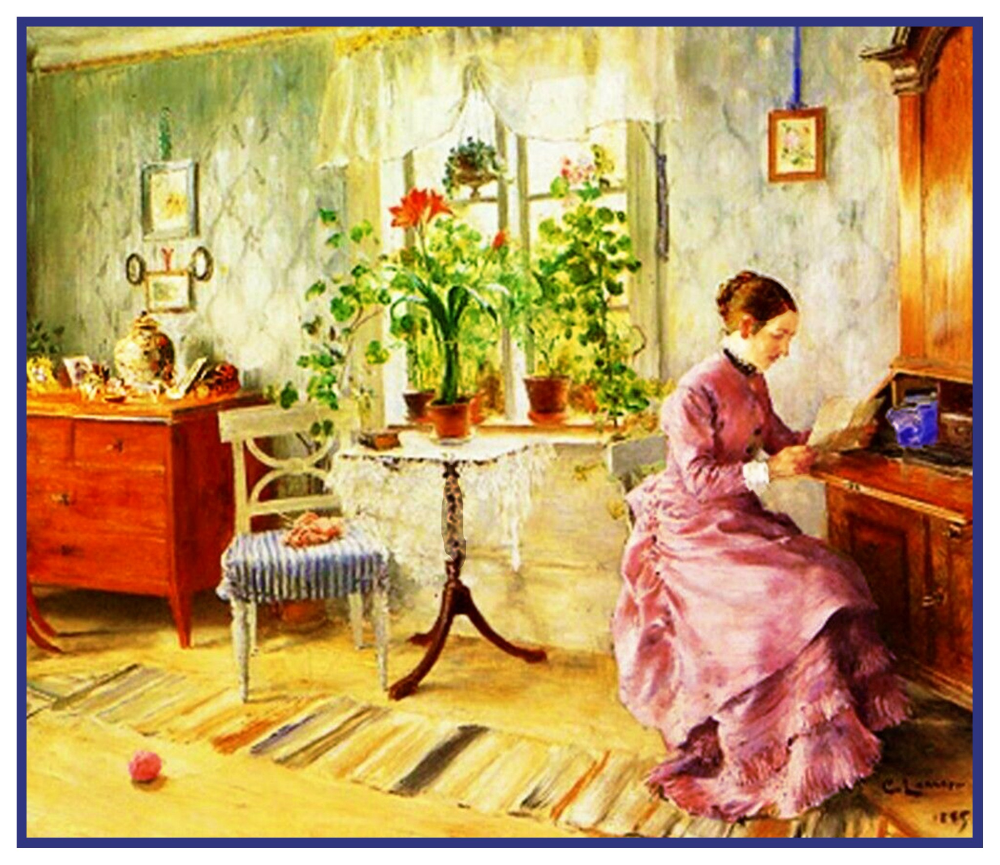 Swedish Carl Larsson/'s Woman Reading on Bench Counted Cross Stitch Chart Pattern