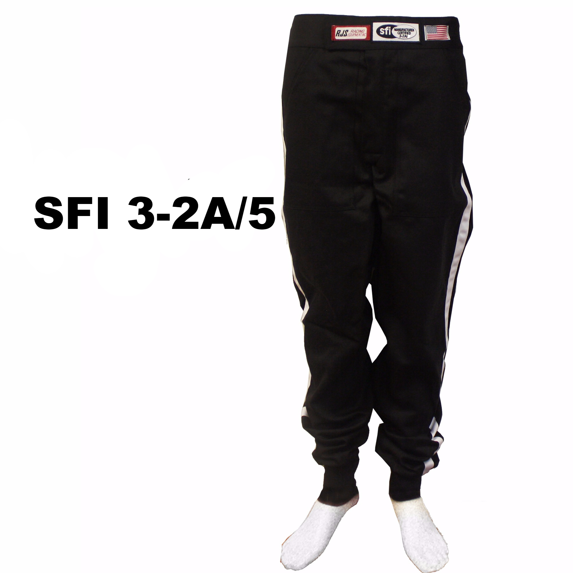 FIRE SUIT RACING PANTS BLACK WHITE STRIPE ADULT LARGE SFI 3-2A//1 RJS RACING